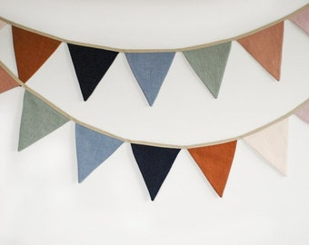 Linen Fabric Bunting Banner, Neutral String Banner Nursery wall hanging Wedding decoration bunting