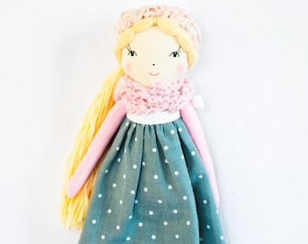 Cloth rag doll, handmade doll, pink teal fabric doll, blonde doll, personalized doll, heirloom gift for girl, nursery decor