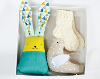 Bunny baby socks bird set, baby boys gift set, baby wool socks, stuffed rabbit toy