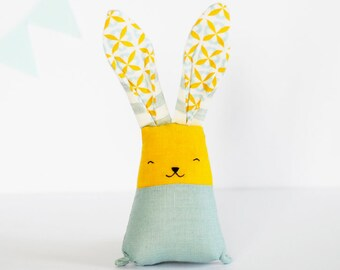 Stuffed rabbit, blush teal bunny, soft baby toys, linen bunny, fabric teething toys, baby shower gift for new mom, first Easter, mustard