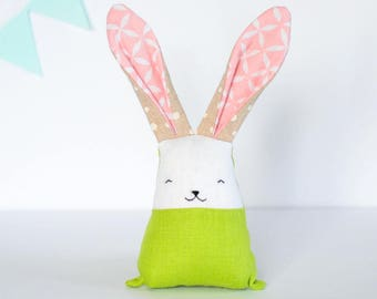 Spring rabbit, bunny toy, green pink toys, stuffed bunny, baby fabric teething toy, baby sensory toys, personalized toys, gift for new mom