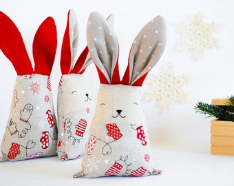 Christmas fabric bunny rabbit toy, soft stuffed red white animal toys, mantle decor gift under tree