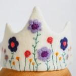 Waldorf wool felt birthday crown, summer flowers princess crown, handmade crown gift for toddler girl
