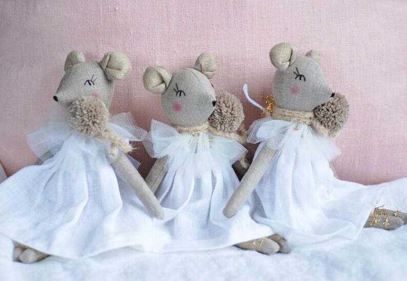 White Linen Ballerina Mouse Rag Doll Mouse Princess Cloth image 0