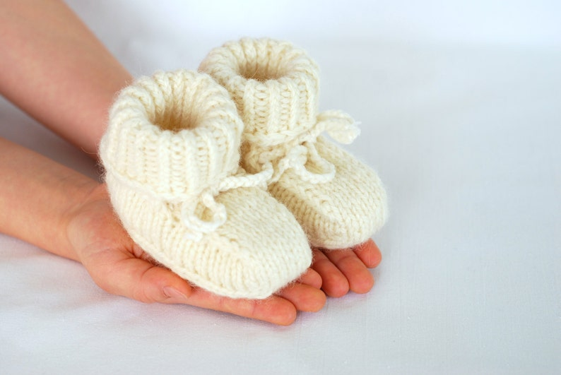 Baby pure merino wool booties baby first hand knitted wool image 0