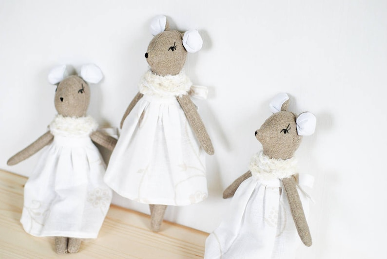 Pure linen mouse mouse rag doll mouse cloth doll stuffed image 0