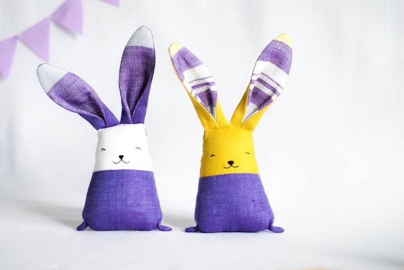 Soft fabric bunny rabbit toys set purple lavender stuffed image 0