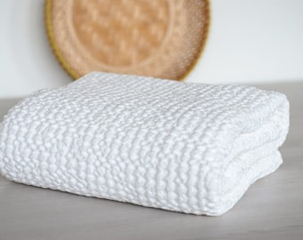 White extra soft waffle baby blanket throw, Organic Baby Blanket, Babies Waffle Towel, Stroller Kids Linen Swaddle Blankets