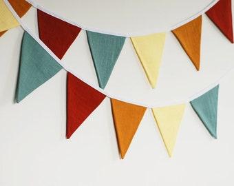 Linen bunting banner, fabric flags nursery pennant garland, fall boho nursery playroom wedding birthday decor