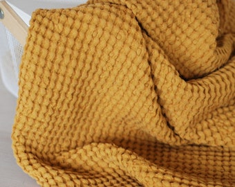 Mustard extra soft waffle baby blanket throw, Organic Baby Blanket, Babies Waffle Towel, Stroller Kids Linen Swaddle Blankets