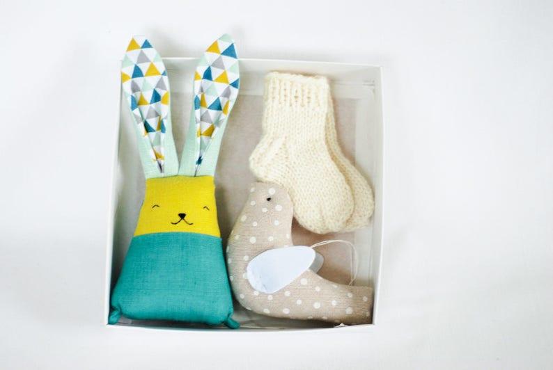 Bunny baby socks bird set baby boys gift set baby wool image 0