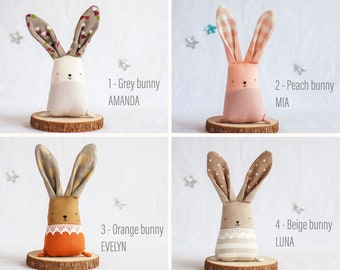 Linen stuffed bunny rabbit, woodland nursery decor, heirloom keepsakes Christmas Easter gift