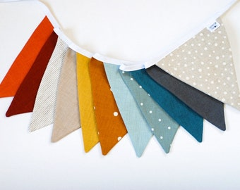 Linen fabric bunting banner, Fabric pennant string garland Flags Outdoor Indoor Triangle unisex design buntings Decoration Tent