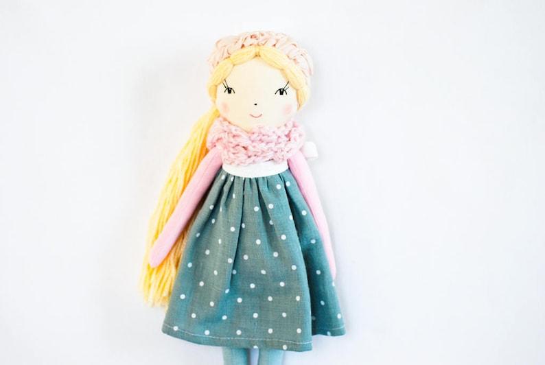 Handmade cloth rag doll pink teal fabric blonde doll image 0