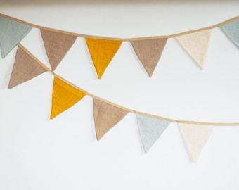 Pastel Bunting Banner fabric linen Pennant Garland Mustard Beige String Banner Flags