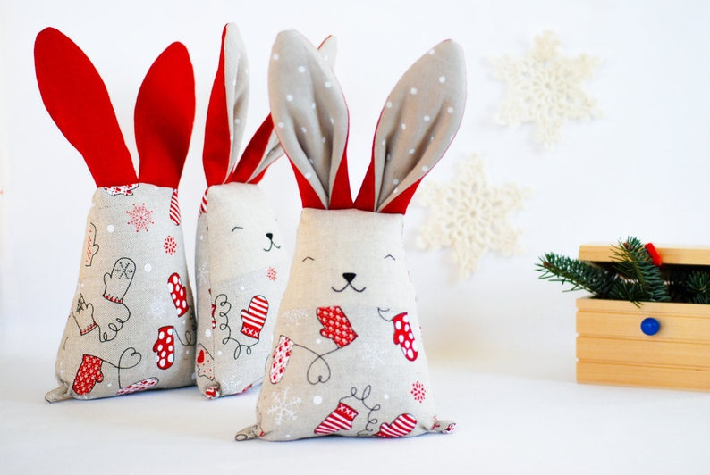 Christmas fabric bunny rabbit toy soft stuffed red white image 1