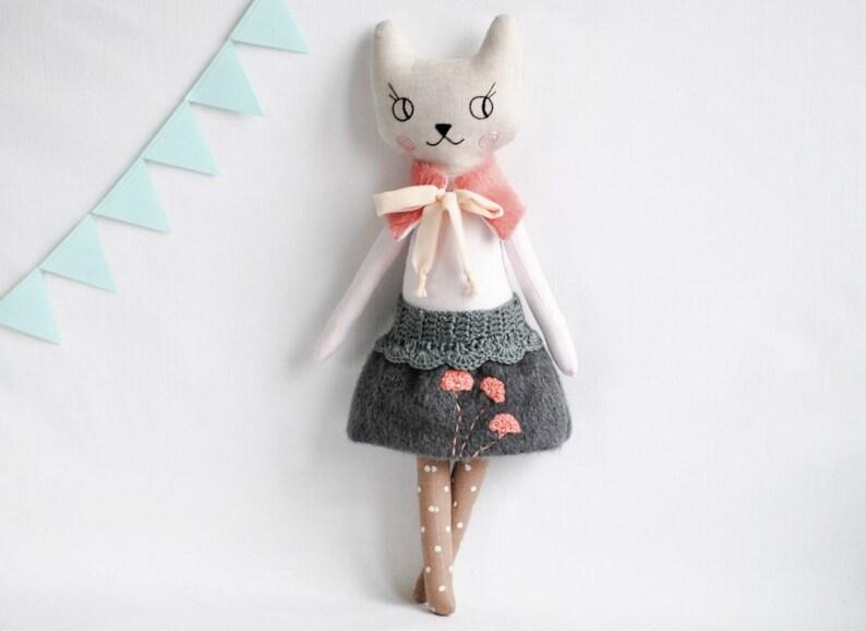 Pink grey cat rag cloth doll heirloom soft animal toy image 3