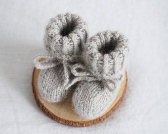Baby pure wool booties, baby first hand knitted light grey wool shoes, booties organic sheep wool eco slippers