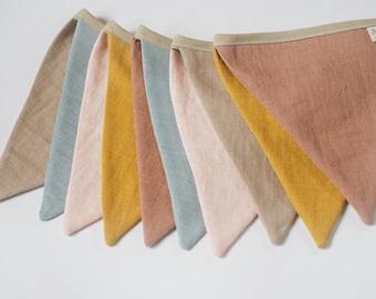 Warm shades Fabric Pennant Bunting String Linen Banner Flags mustard light peach blue beige tan