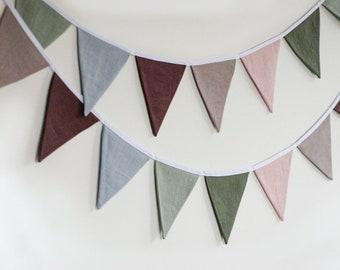 Sage green purple blue shades fabric bunting banner pennant string linen garland