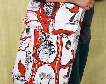 Artist's Sketchbook Bag - big enough for 2 large (A3) sketchbooks (not included) - woodland theme