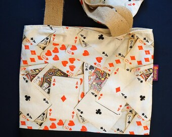 Cards-themed Bag-in-a-bag - handy bag in its own pouch - perfect for the bridge player in the family!