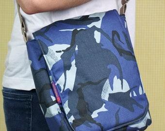Padded Messenger Bag - Blue Camouflage Pattern