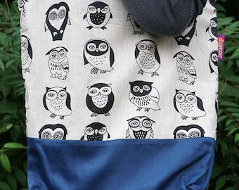Owl themed Bag-in-a-bag - handy bag in its own pouch - keep it in your handbag and never ask for a plastic bag again!