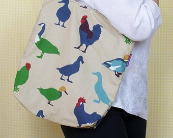 Ducks and Hens - Bag-in-a-bag - handy bag in its own pouch.