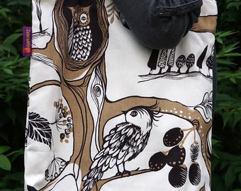 Woodland animal themed Bag-in-a-bag - handy bag in its own pouch - perfect for the nature lover!
