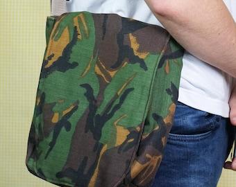Padded Messenger Bag - Green Camouflage Pattern