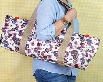 YOGA MAT BAG pink and purple paisley