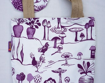 Garden Allotment theme - handy bag in its own pouch.