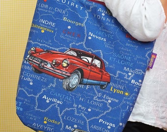 Vintage cars! French themed Bag-in-a-bag - handy bag in its own pouch.