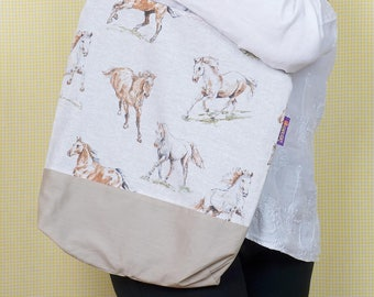 For Horse Lovers! Beautiful horse-themed Bag-in-a-bag - handy bag in its own pouch.