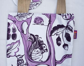 Woodland themed Bag-in-a-bag - handy bag in its own pouch - perfect for the nature lover!
