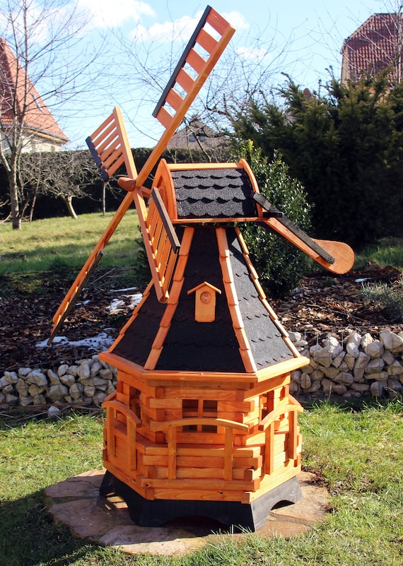 Garden Windmill with Solarlighting LED Large Wooden Windmills 4 sizes 3 colors