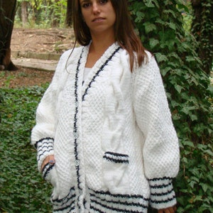 Jacket women White,Ready to Ship,beige Hand Knit women/'s coat Women/'s jacket Women cardigan.Hand knitted