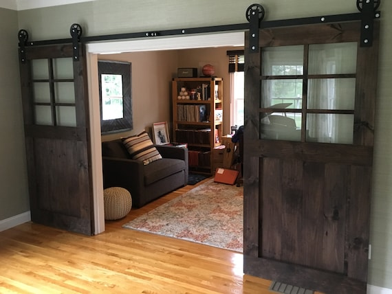 Custom Rustic Barn Door With Windows Etsy