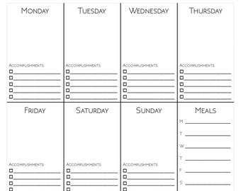 Weekly Life Planner w/ Meal Planning, Shopping List & Habit Tracker