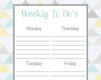 Weekly To Do List - Half Sheet