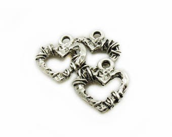 """Lot 10 Pendentifs Coeur Bronze /"""" made with love /"""" 12mm x 10mm Breloques Charms"""