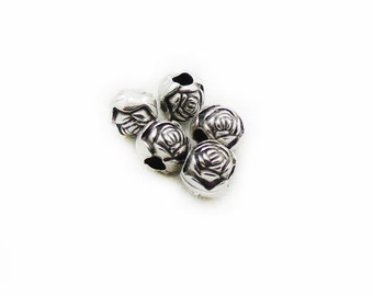 40 SPACER Rose 8mm Perlen Farbe antiksilber KUGELN Metallperlen #S296