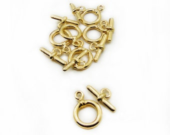 Gold Color Toggle Clasps, 6 Sets Toggle Clasps, Bracelet Necklace Clasp, Jewelry Making, DIY Toggle Clasps