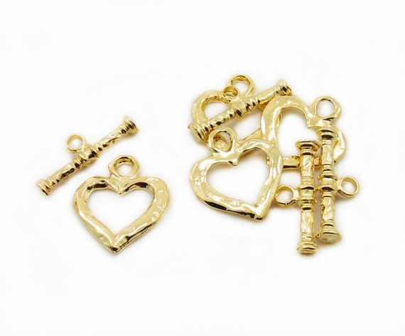 3-colors to choose  heart shaped toggle clasps  findings diy making