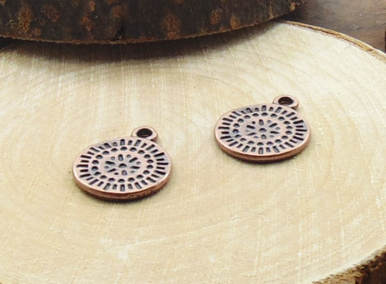 Dangle Charms Disc Charms Flat Round Charm Jewelry Making Antique Copper Charm Rustic Charms 19x15mm Charm Metal Charms DIY Charms