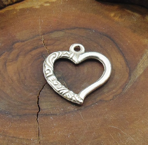 Small Heart Charms 12x10mm Antique Silver Tone Qty 25 or 50 Crafts Findings