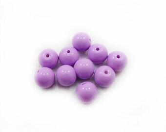 Purple Glass Beads, Glass Beads, Purple Beads, 10mm Glass Beads, 10 pcs Glass Beads, Jewelry Making, DIY Craft Supplies