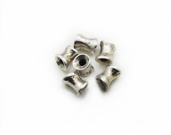 Tube Spacer Beads, Antique Silver Spacer beads, 11x8mm Spacer Beads, Metal Spacer Beads, 6 pcs Spacer Beads, Craft Supplies, Jewelry Making