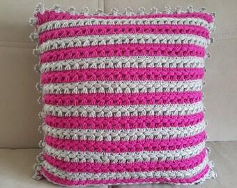 Hand Knit Pillow, Decorative Pillow Case, Knit Pillow Case, Pillow cover, Decorative Pillow Cover,  Geometric Pillow, Knit Pillow Cover